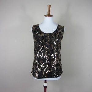 Chico's Brown Sequin Sleeveless Blouse Top
